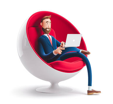 stock-photo-handsome-cartoon-character-billy-sitting-in-an-egg-chair-with-laptop-d-illustration-1388391212